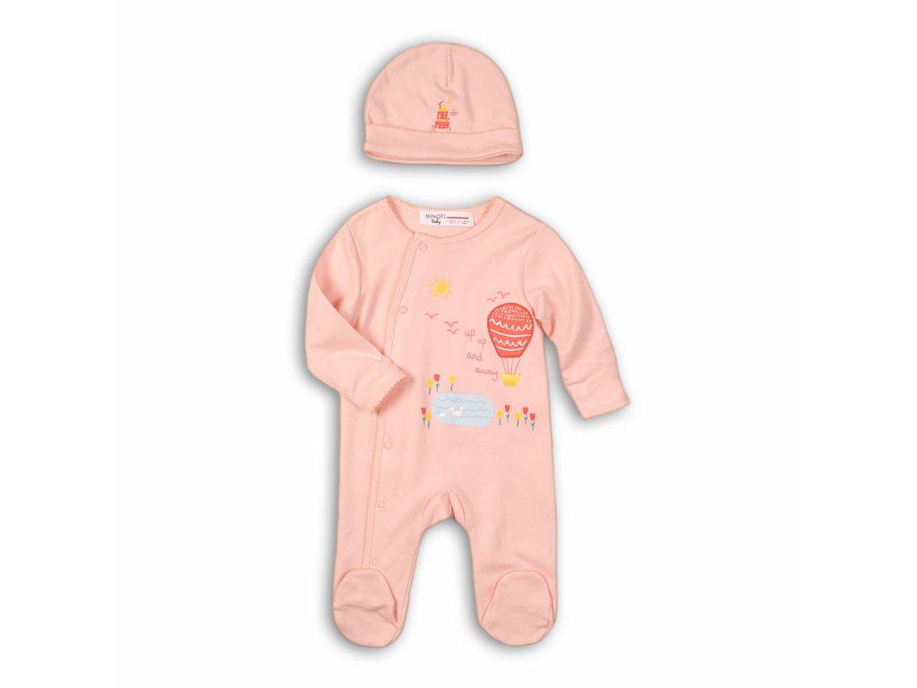 Overal kojenecký a čepice Baby růžová