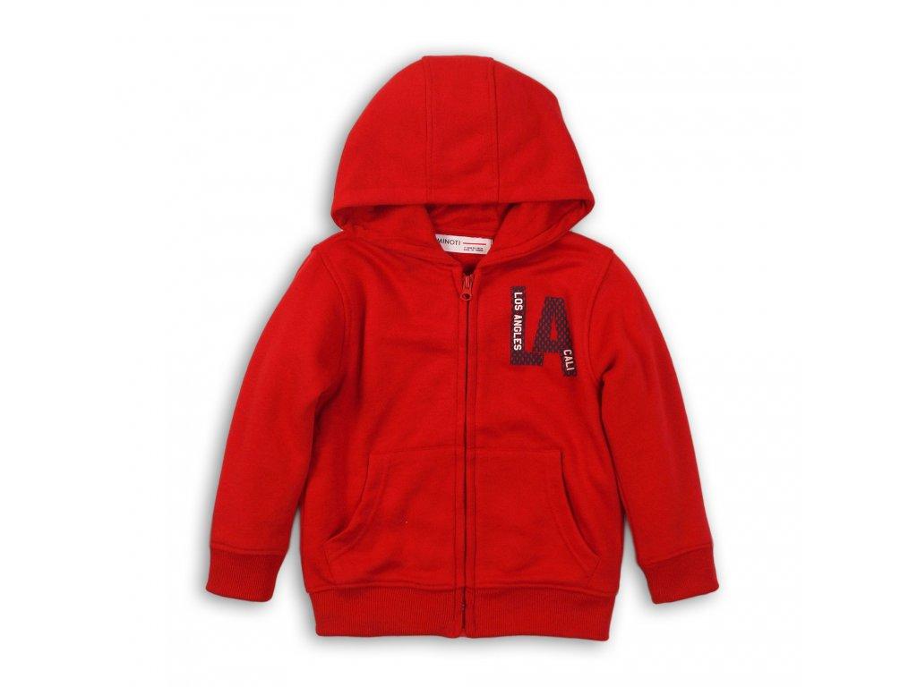 Mikina chlapecká s kapucí celopropínací Baby červená