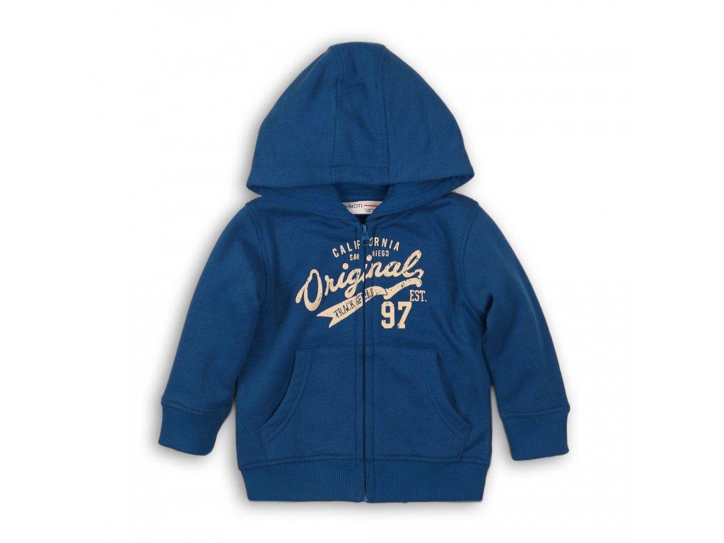 Mikina chlapecká s kapucí celopropínací Baby modrá