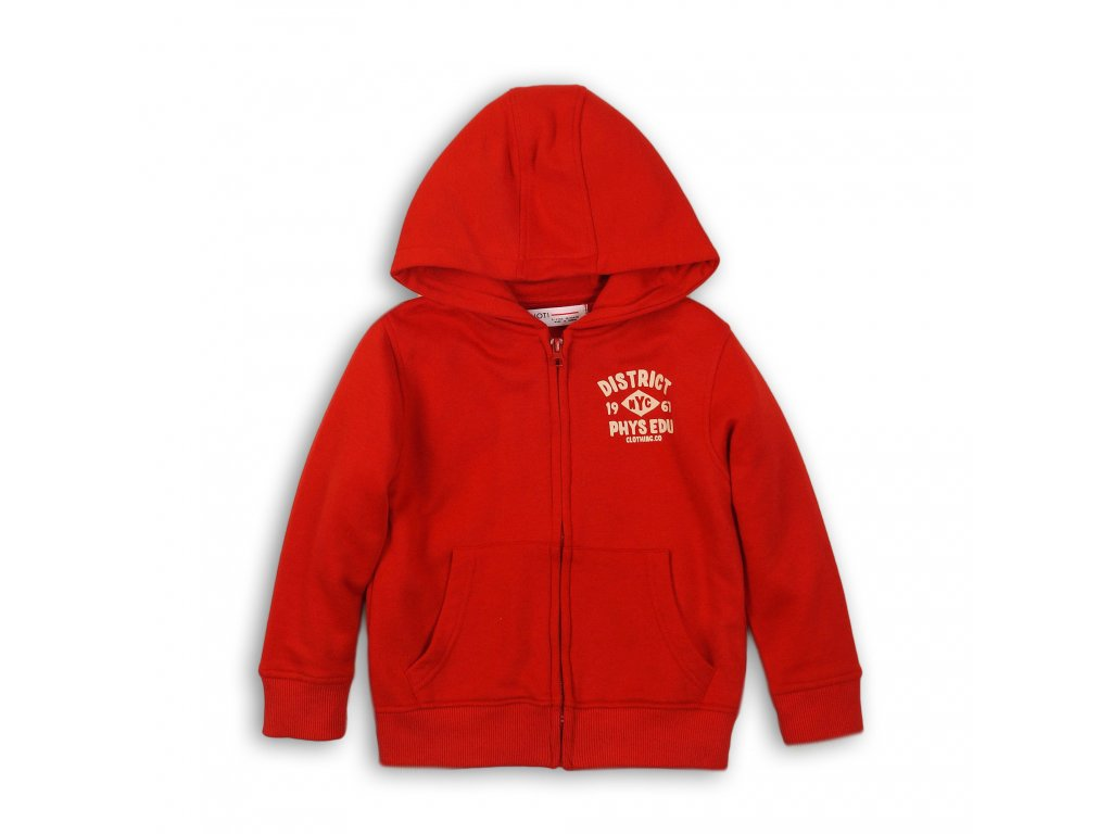 Mikina chlapecká s kapucí celopropínací Junior červená