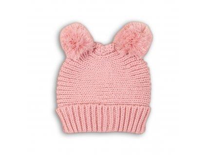 Čepice zimní s bambulema Baby růžová