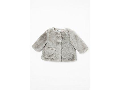 Kabátek kojenecký chlupatý s bavlněnou podšívkou Baby šedá