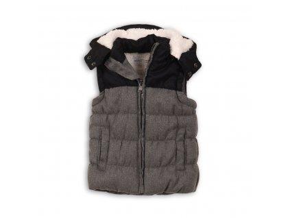 Vesta chlapecká zimní prošívaná s kapucí Baby šedá