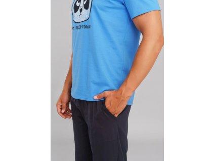 JUGO pánské pyžamo, krátký rukáv, dlouhé nohavice modrá