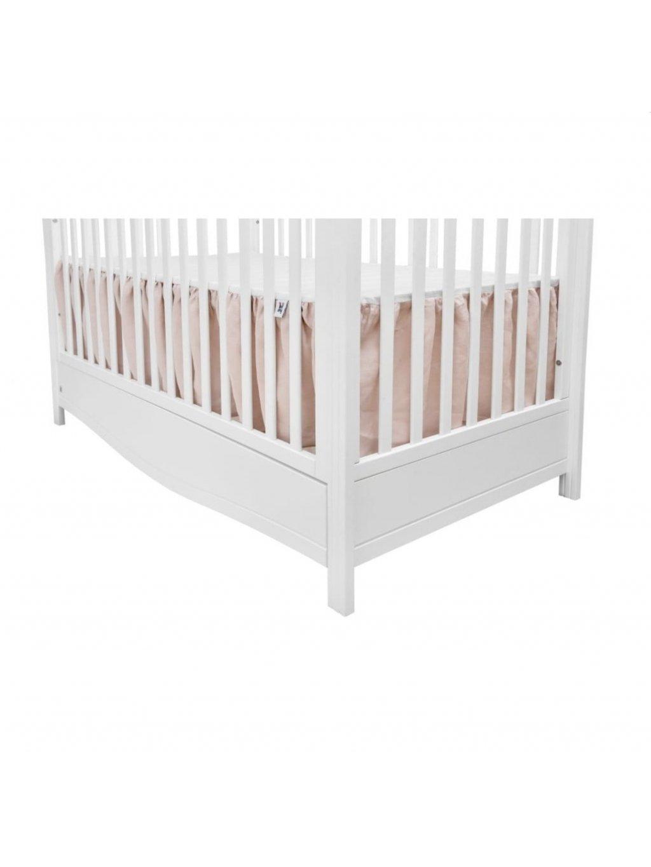 Ružová ľanová trojstranná záclonka pod matrac do detskej postieľky 1