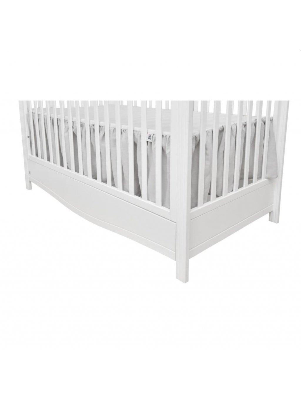 Sivá ľanová trojstranná záclonka pod matrac do detskej postieľky 1