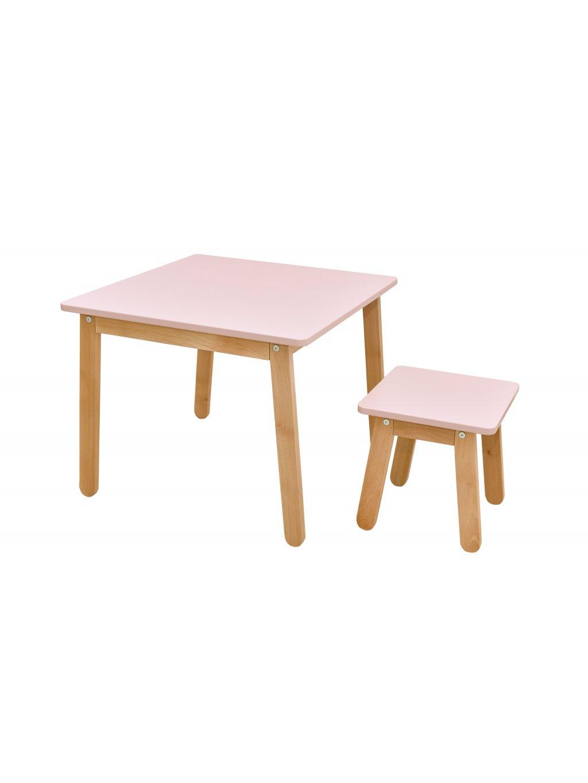 Detský stolík so stoličkou ružový