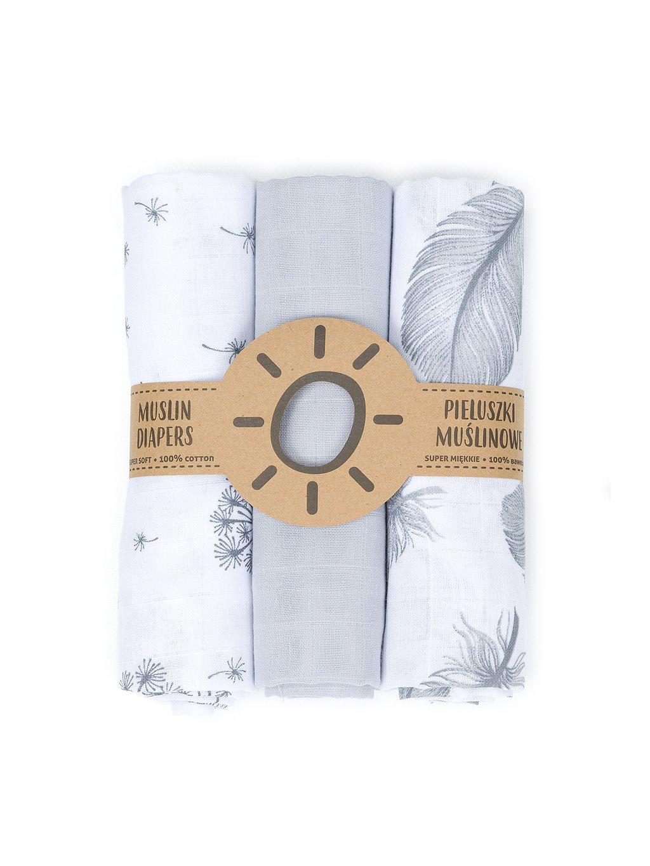 Mušelínové plienky 3ks 80x80cm + žinka zadarmo Grey:White Forest