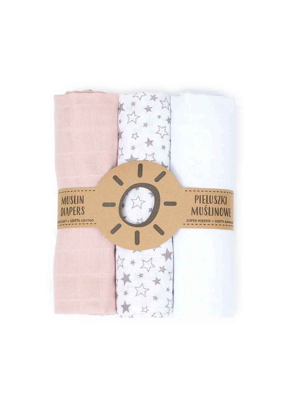 Mušelínové plienky 3ks 80x80cm + žinka zadarmo Grey:White:Pink Forest