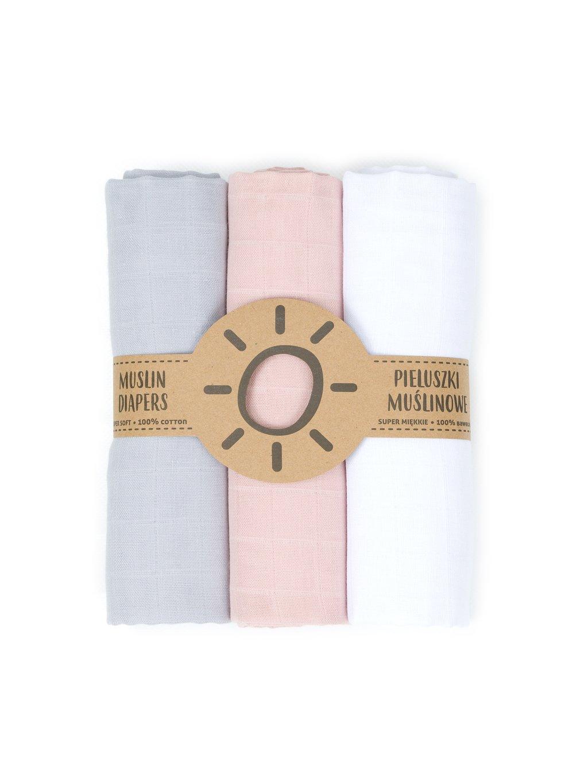 Mušelínové plienky 3ks 80x80cm + žinka zadarmo Grey:Pink:White