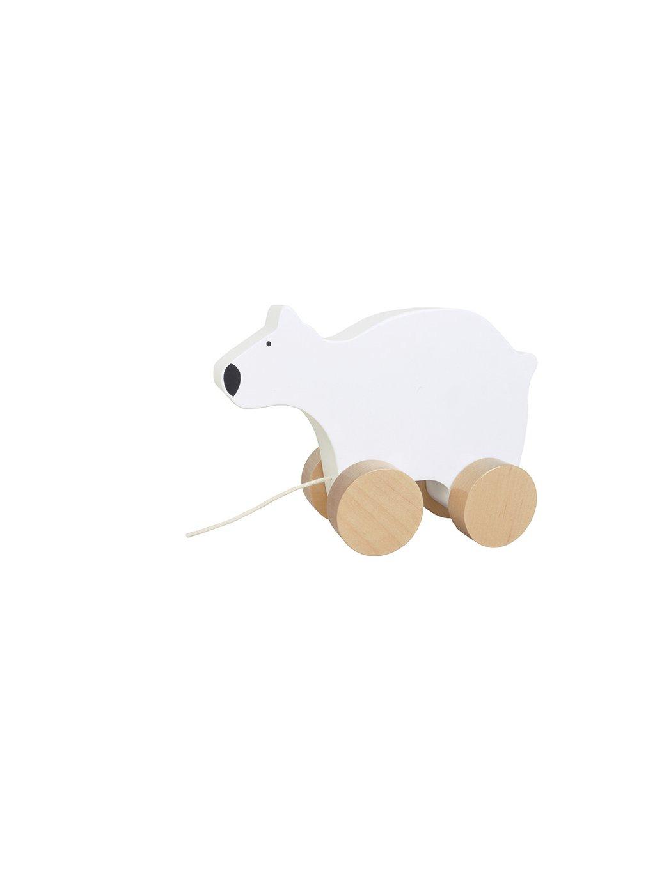Drevená hračka na ťahanie medveď