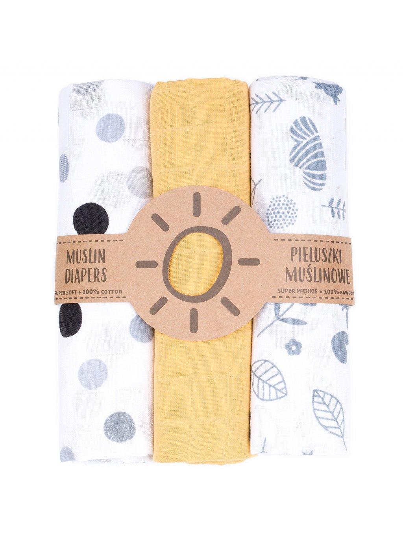 Mušelínové plienky 3ks 80x80cm + žinka zadarmo Grey:Yellow