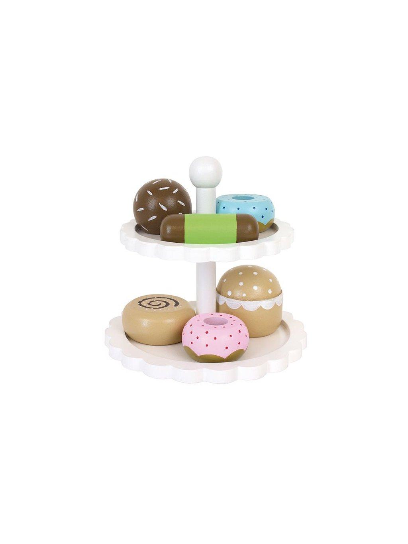 Drevený podnos s koláčikmi