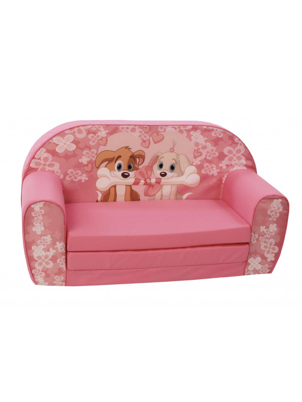 Detské rozkladacie ružové kresielko Zvieratká