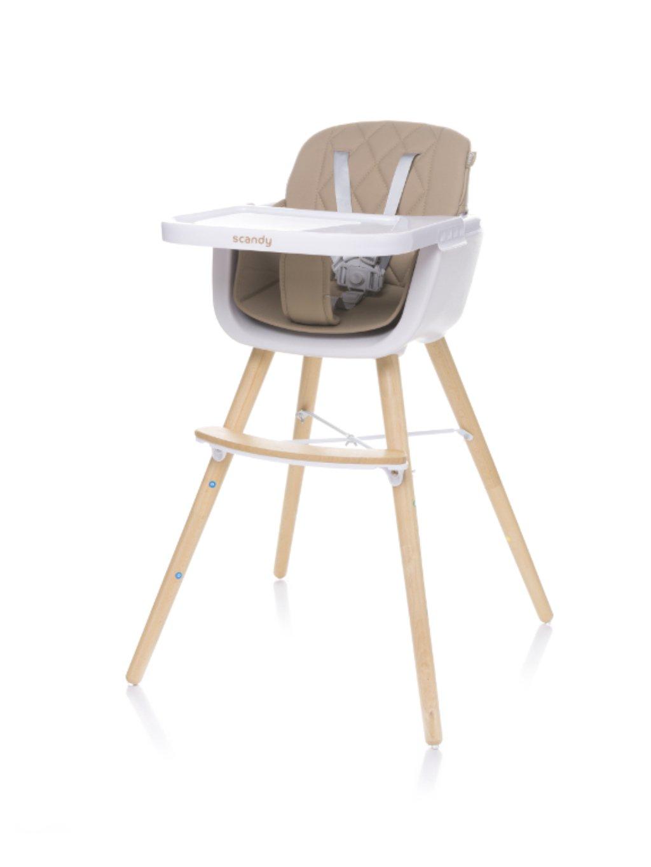 Detská jedálenská stolička Scandy 2v1 caramel 01