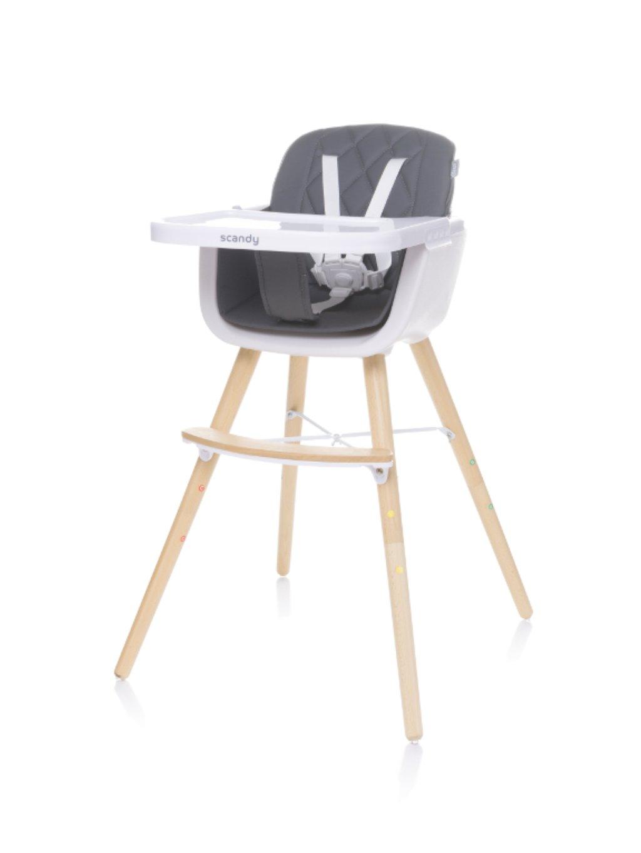 Detská jedálenská stolička Scandy 2v1 sivá 03