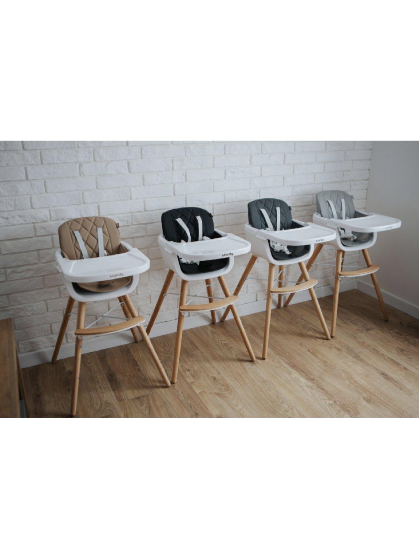 Detská jedálenská stolička Scandy 2v1 sivá 016