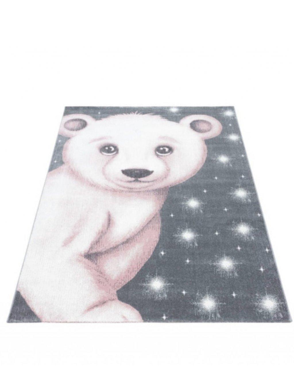 Detský koberec Bambi Macko ružový 1