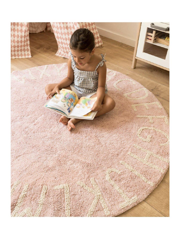Prateľný koberec ABC ružový 01