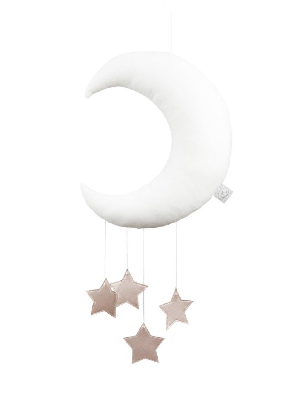 Závesná dekorácia Mesiac nad postieľku Biely 09