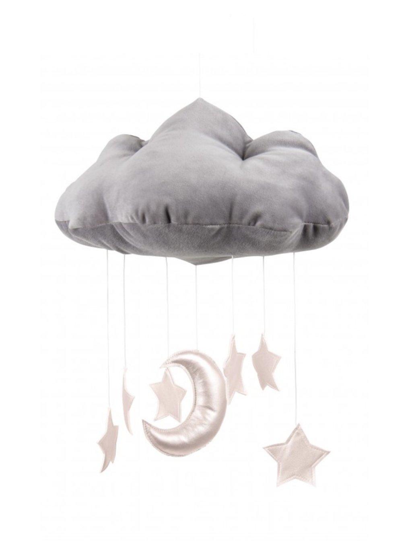 Závesná dekorácia Oblak nad postieľku - Sivý