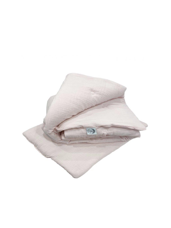 Mušelínová ružová detská perina + vankúš 135x100 cm 03