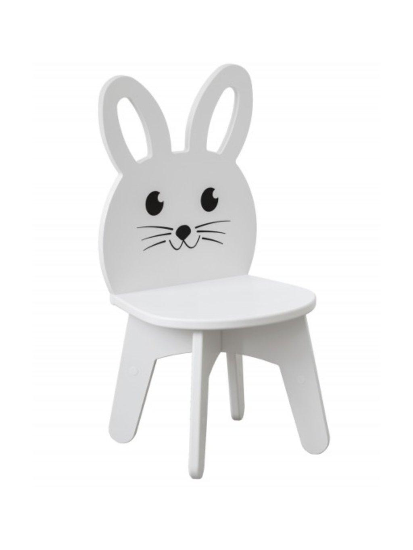 Detská stolička Zajačik biely 01