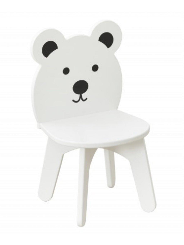 Detská biela stolička Macko Baby 01