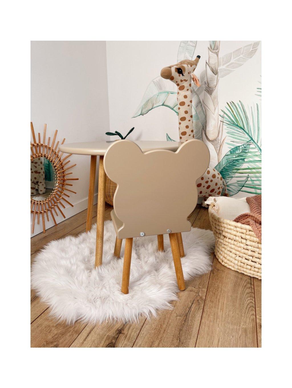 Detská buková stolička Macko béžová 4