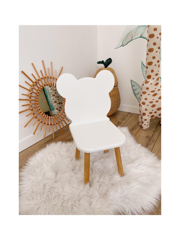 Detská buková stolička Macko biela