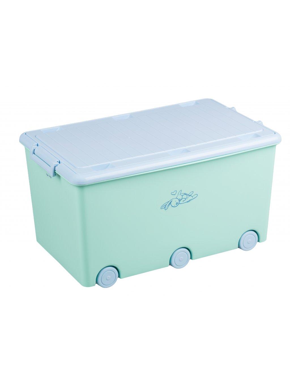 Box na hračky Tega Zajačik zelený na kolieskach 1
