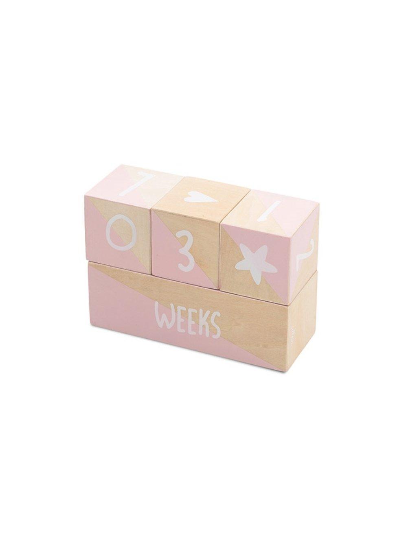 Mílnikové drevené kocky Jollein ružové