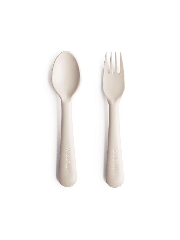 Mushie detský príbor lyžička a vidlička ivory