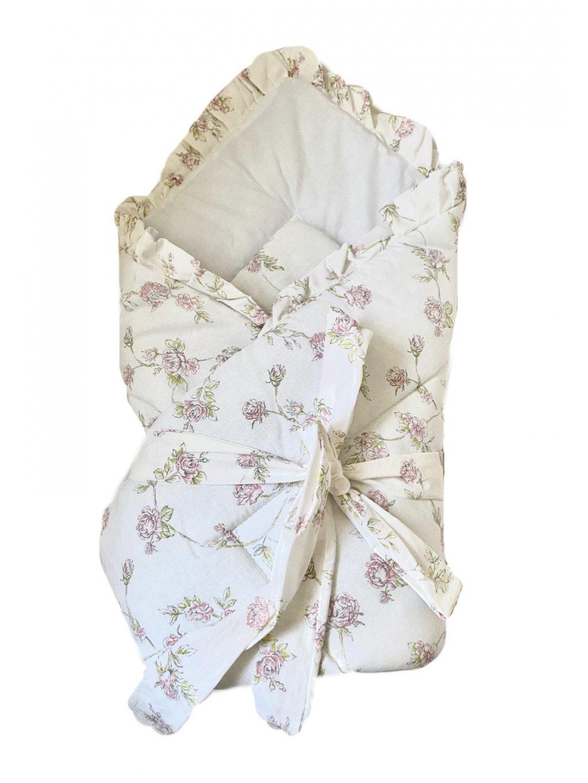 Detská bavlnená zavinovačka s mašľou a volánom White/Rose - Posledný kus