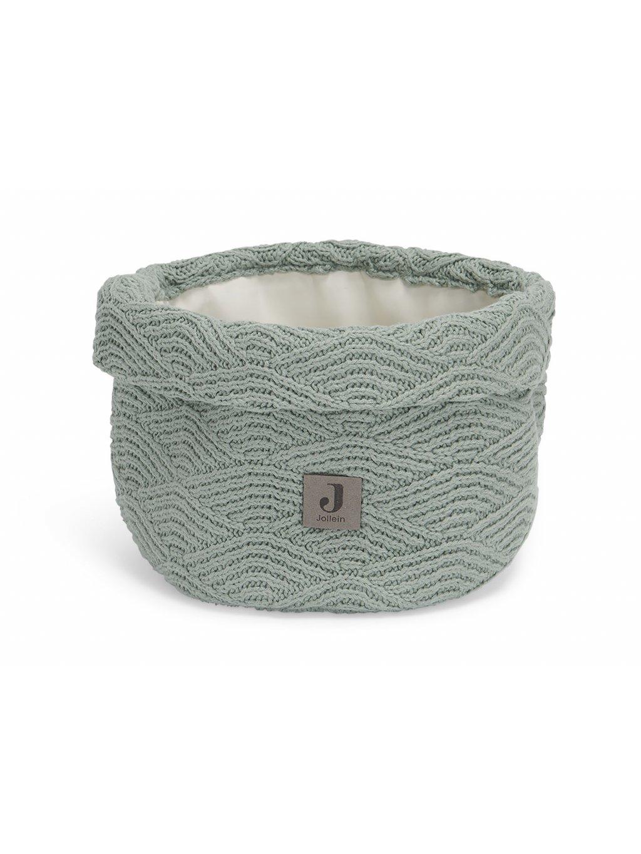 Prebaľovací košík Jollein River knit ash Green