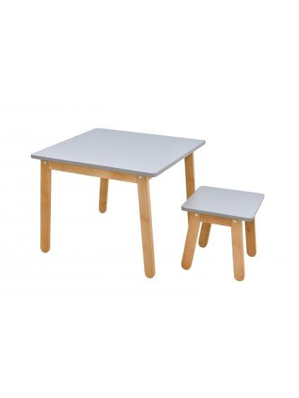 Detský stolík so stoličkou sivý