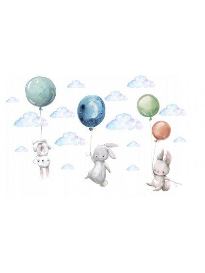 Detská nálepka na stenu zajačik balóny XL XXL 8