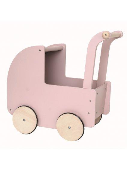 Drevený retro kočík pre bábiky púdrový