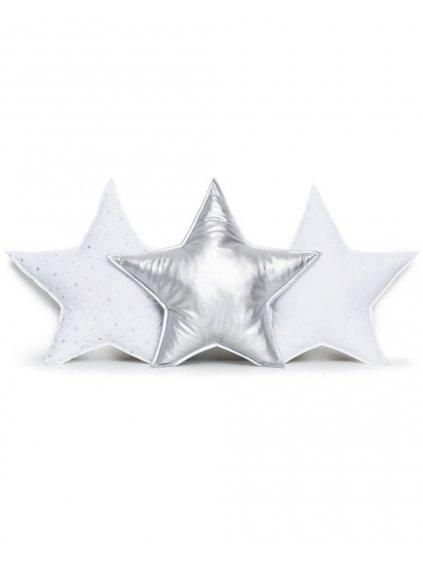 Set detské vankúše strieborné Hviezdy 3 ks 0