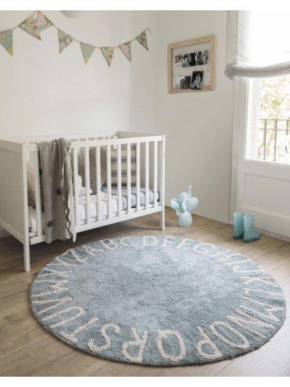 Prateľný koberec ABC modrý 11