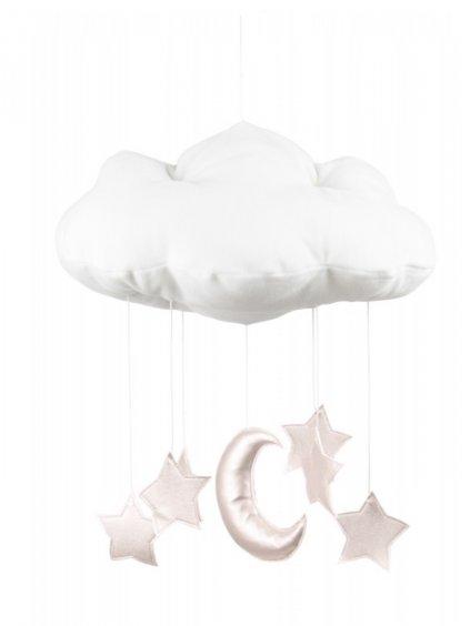 Závesná dekorácia Oblak nad postieľku Biela 01