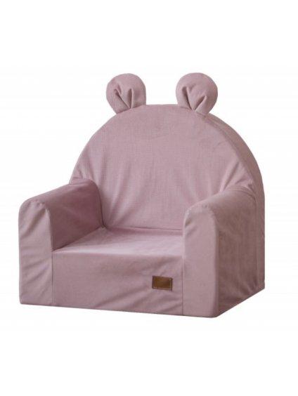 Detské kresielko s ušami ružové 01