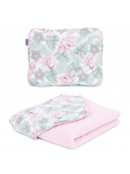 Mušelínová deka Mamo Tato 75x100 cm + vankúš Ružové kvety