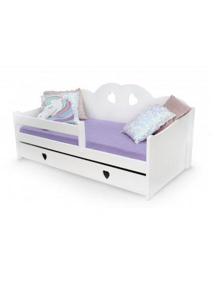 Detská drevená posteľ Tosia biela so zásuvkou 160x80 cm