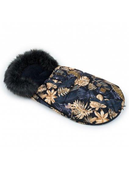 Mamo Tato Zimný fusak s kožušinkou, 50 x 100cm Lístie na čiernom 1