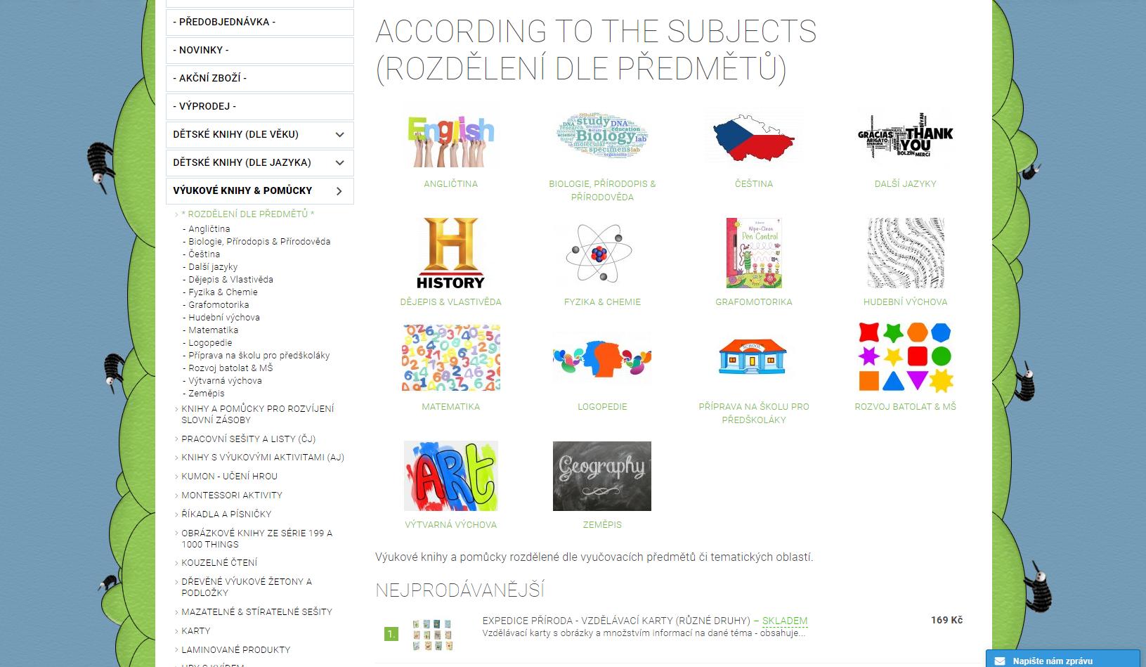 Výběr dle vyučovacích předmětů či tematických oblastí