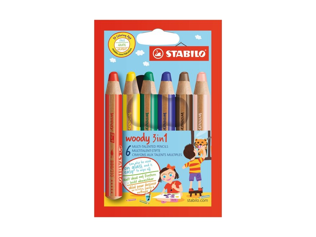 20055 8806 STABILO woody 3in1 coloured pencil 6pcs