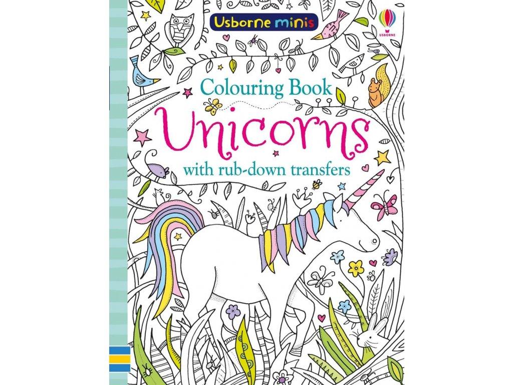 Unicorns colouring book with rub down transfers
