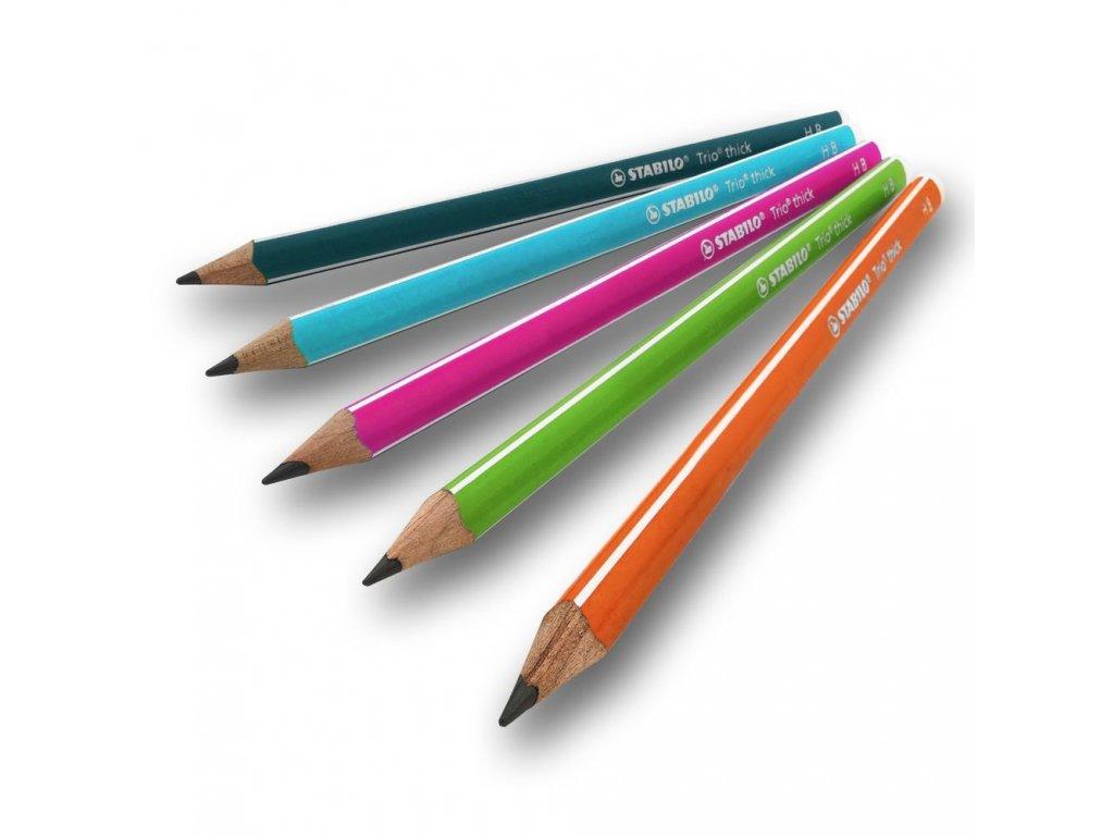 STABILO Trio Thick - silná trojhranná tužka (HB = 2) (Barva zelená)