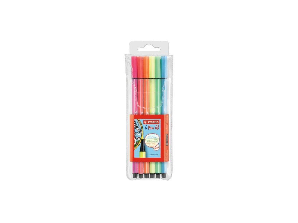 STABILO Pen 68 - vláknový fix - s neonovými barvami (6 ks/15 ks)